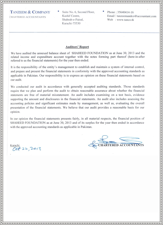 SFP Financial Audit Report 2013