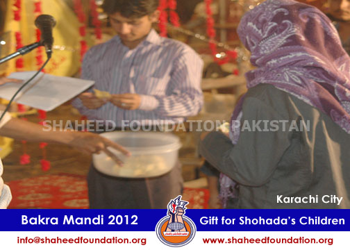 SFP Bakra Mandi Karachi 2012 for children of Martyrs